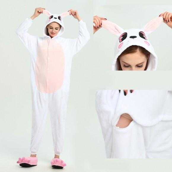 Pink Rabbit Onesie Animal Onesie Pajama For Adult