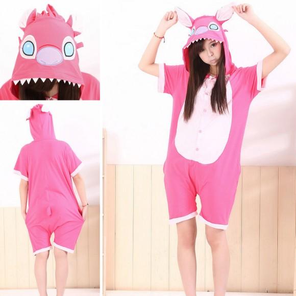 Pink Stitch Kigurumi Summer Onesies Pajamas Animal Hoodie Short Sleeve