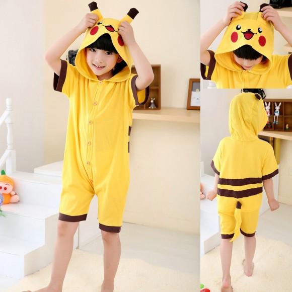 Animal kids Pokemon Pikachu Yellow Onesies Short Sleeves Pajamas