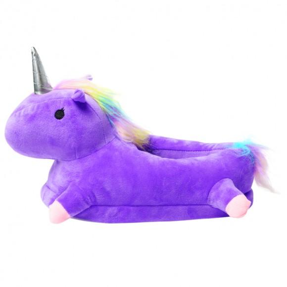 Purple 3D Cute Plush Unicorn Light Up Slippers Shoes