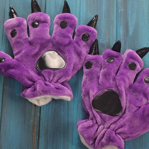 Unisex Purple Onesies Animal Hands Paw Flannel Gloves