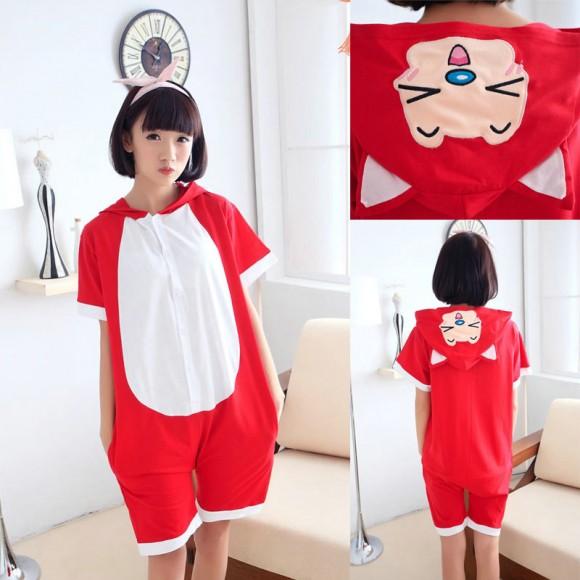 Red Fox Kigurumi Summer Onesies Pajamas Animal Hoodie Short Sleeve