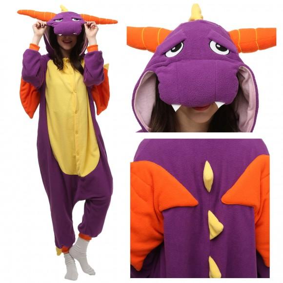 Spyro the Dragon Onesie Pajamas for Adult Animal Onesies