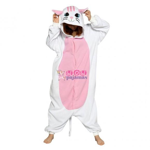 Kigurumi White Cat Onesie Pajamas Animal Costume For Adult