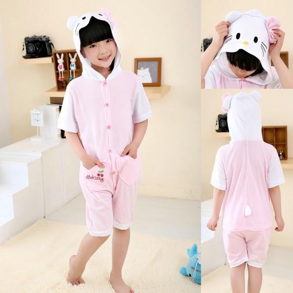 White Hello Kitty cat Onesies Short Sleeves Pajama for Kids