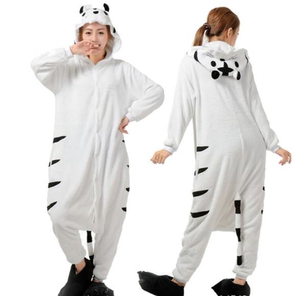 White Tiger Onesie for Adult Animal Onesies Pajama