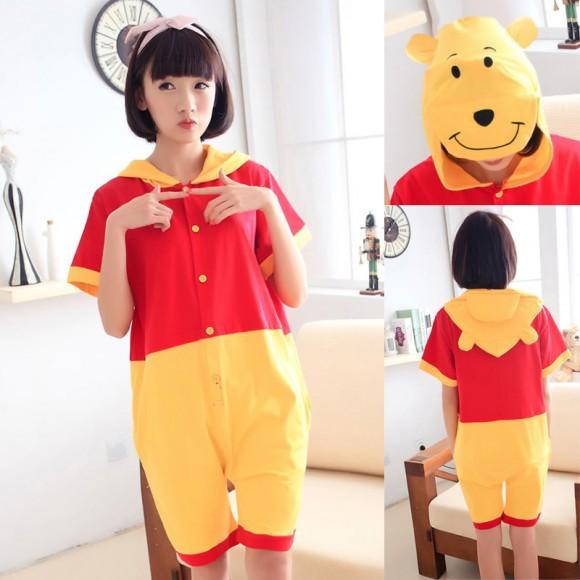 Winnie the Pooh Kigurumi Summer Onesies Pajamas Animal Hoodie Short Sleeve