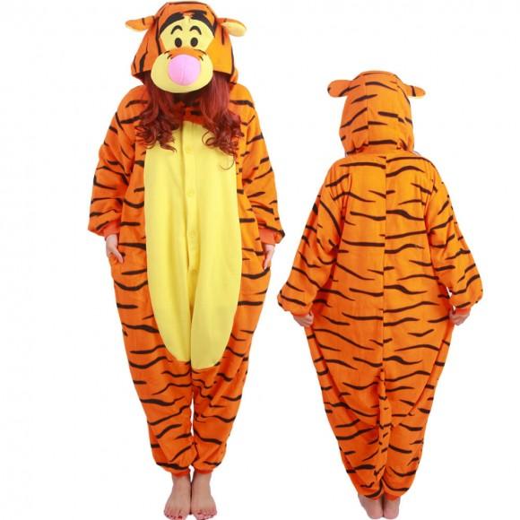 Winnie The Pooh Tigger Costume Onesie Pajamas For Adult & Teens