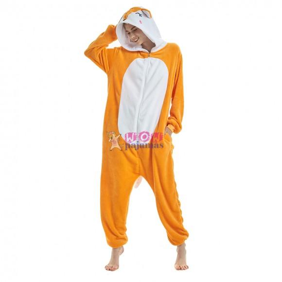 Yellow Fox Animal Onesie Pajamas For Adult