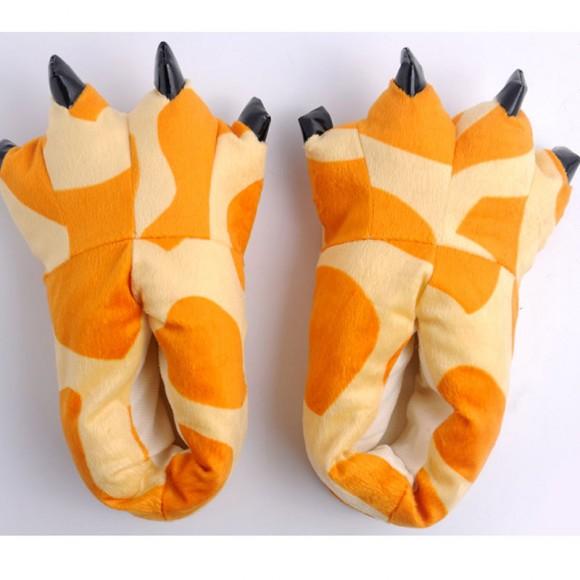 Yellow giraffe Animal Onesies Kigurumi slippers Adult Plush Shoes