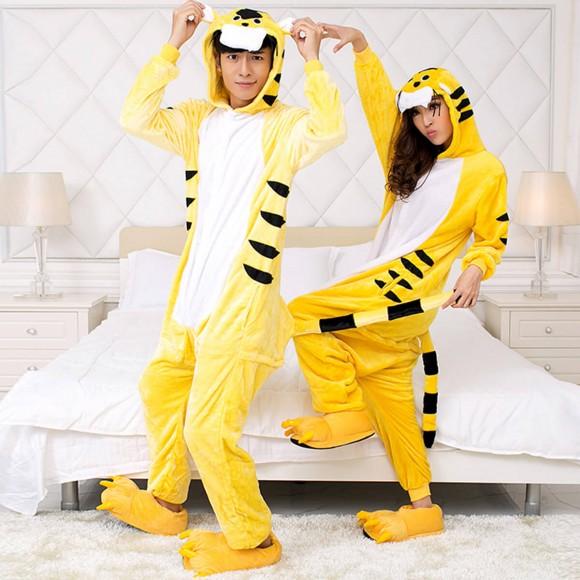 Yellow Tiger Kigurumi Unisex Animal Onesie Pajama