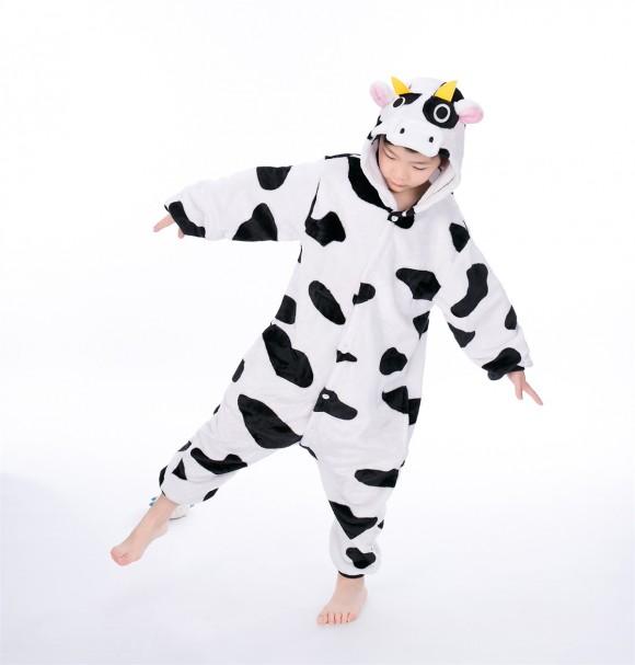 Black white Milk Cow animal kigurumi onesie pajamas for kids