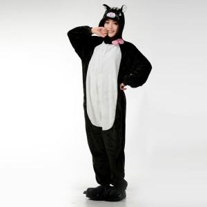 Kigurumi Black Cat Onesie Pajamas Animal Costume For Adult