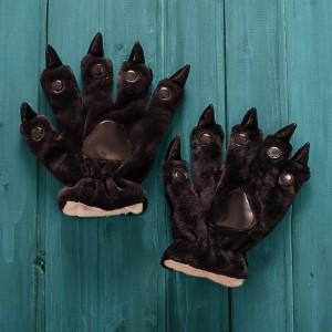 Unisex Black Onesies Animal Hands Paw Flannel Gloves
