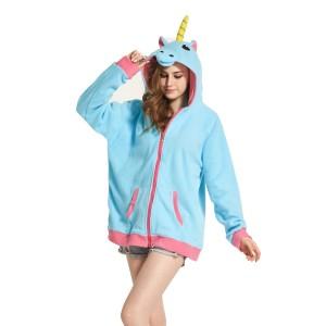Blue Unicorn Fleece Hoodie Coat Jacket Animal Kigurumi Pajama