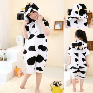 Cartoon Cow pattern Onesies Short Sleeves Pajamas for Kids