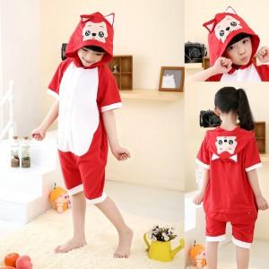 Cartoon Red Fox Onesies Short Sleeves Pajamas for Kids