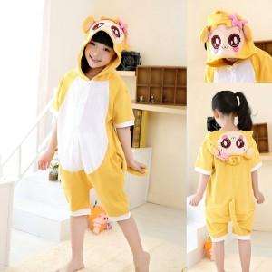 Cartoon Yellow Monkey Onesies Short Sleeves Pajamas for Kids