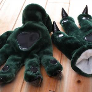 Unisex Dark Green Onesies Animal Hands Paw Flannel Gloves