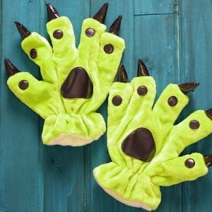 Unisex Fluorescent Green Onesies Animal Hands Paw Flannel Gloves