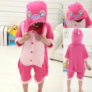 Kids Pink Stitch Animal Onesies Short Sleeves Pajamas