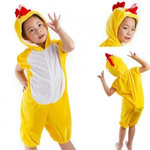 Kids Yellow Chicken Animal Onesie Short Sleeves Pajamas