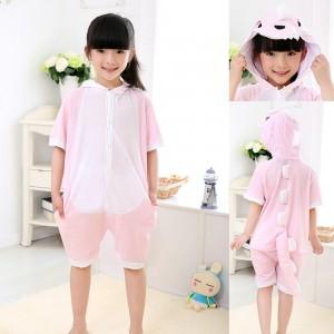 Animal kids Pink Dinosaur Onesies Short Sleeves Pajamas