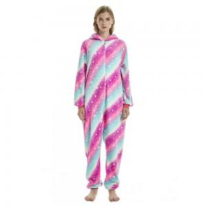 Pink Galaxy Rainbow Tail Unicorn Onesie Pajamas For Adult