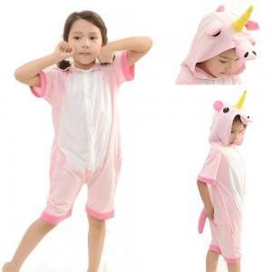 Animal kids Pink Unicorn Onesies Short Hooded Pajamas