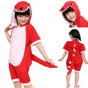 Animal kids Red Dinosaur Kigurumi Short Sleeves pajamas