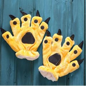 Unisex Yellow Onesies Animal Hands Paw Flannel Gloves