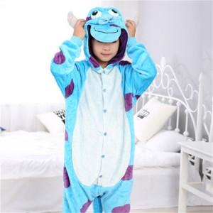 Blue Purple Sullivan animal kigurumi onesie pajamas for kids