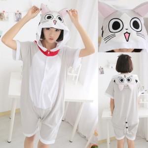Chi The Cat Kigurumi Summer Onesies Pajamas Animal Hoodie Short Sleeve
