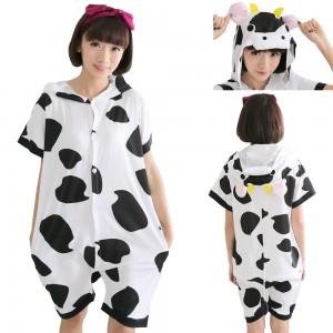 Cow Kigurumi Summer Onesies Pajamas Animal Hoodie Short Sleeve
