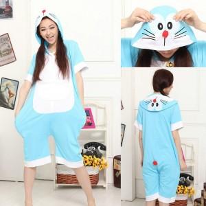 Doraemon Cat Pajamas Onesie Hoodie Short Sleeve Costume