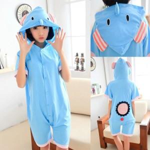 Elephant Kigurumi Summer Onesies Pajamas Animal Hoodie Short Sleeve