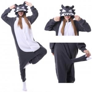 Grey Wolf Onesie Pajamas Adult Animal Costumes