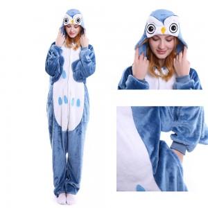 Unisex Blue Owl kigurumi onesies animal pajamas