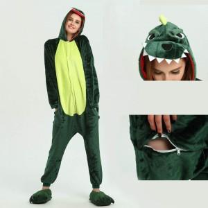 Unisex Green Dinosaur kigurumi onesies animal pajamas