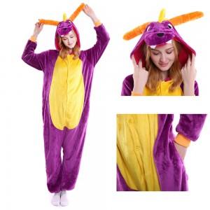 Unisex Purple Dragon kigurumi onesies animal pajamas