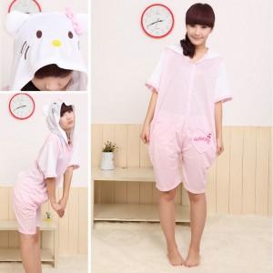 Pink HKT Cat Kigurumi Onesies Pajamas Animal Hoodie Short