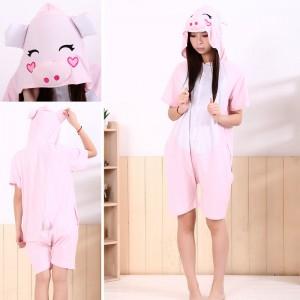 Pink Pig Kigurumi Summer Onesies Pajamas Animal Short Sleeve