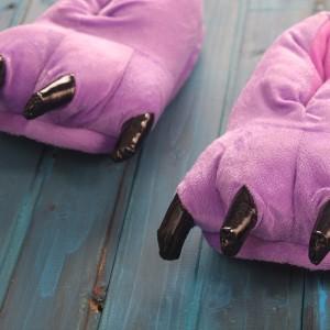 Purple Animal Onesies Kigurumi slippers Adult Plush Shoes