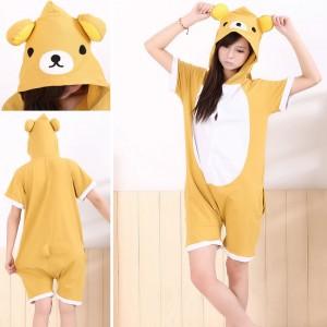 Rilakkuma Kigurumi Summer Onesies Pajamas Animal Hoodie Short Sleeve
