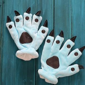 Unisex Sky Blue Onesies Animal Hands Paw Flannel Gloves