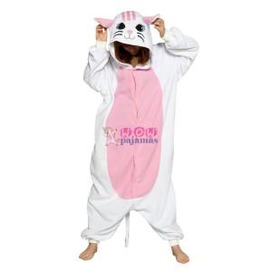Kigurumi White Cat Onesie Pajamas Animal Costumes For Women & Men